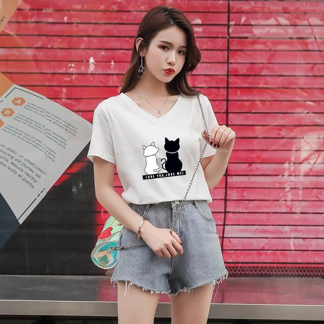 YZ Women T-shirt 2019 New Summer Cotton Femme Top Cat Printed Short-sleeved T-shirt Female Student V-neck Loosefeminino T-shirt