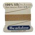 2 M de comprimento 0.45 mm de diâmetro rosa 100% seda Natural Beading Cords com agulha