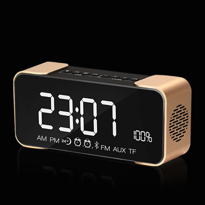 Wireless Bluetooth Speaker Mirror LED Alarm Clock Subwoofer Bluetooth Haut-parleur Hifi Music Surround Sound System MP3 Speaker wireless mini bluetooth speaker subwoofer bluetooth haut parleur hifi surround sound system speakerphone mp3 usb woofer speaker