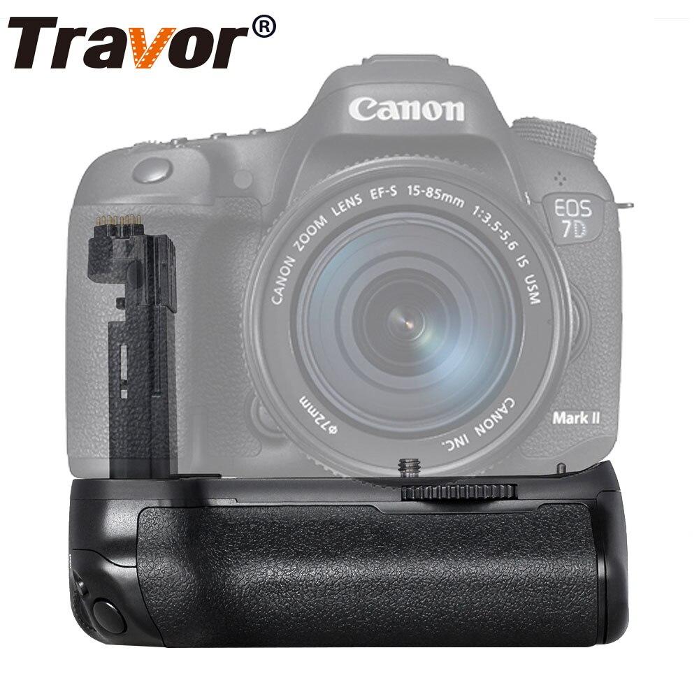 Poignée de batterie verticale Travor pour appareil photo reflex numérique Canon 7D Mark II 7D2 comme BG-E16, fonctionne avec une batterie LP-E6 ou 6 piles AA