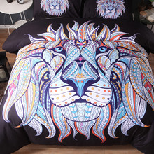 Tribal Lion Horse Wolf Printed Duvet Cover Set 3D Animal Bedding Decoration King Queen Size Art Print Bedclothes Bed Linen