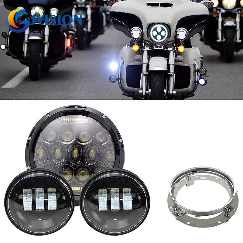 Black 7 inch Harley Daymaker led headlight with DRL & 4.5'' inch 60W led fog light & Adapter Ring for Harley Davidson Motorcycle black 7 inch motorcycle daymaker replacement led headlight 2 x 4 5 fog lights for harley davidson road king with 7 bracket