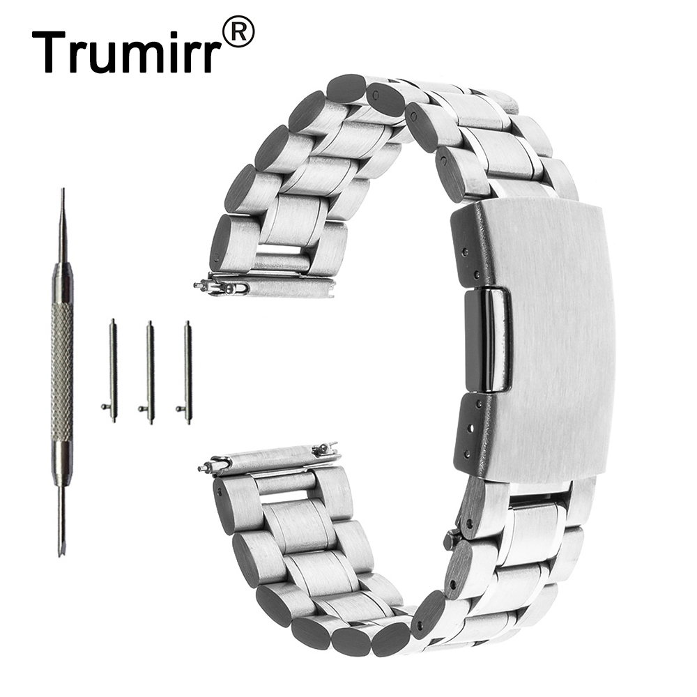 22mm Quick Release Watch Band +Tool for Samsung Gear S3 Classic / Frontier Stainless Steel Strap Link Belt Bracelet Black Silver france genuine leather watchband for samsung gear s3 classic frontier r760 770 double color watch band quick release wrist strap