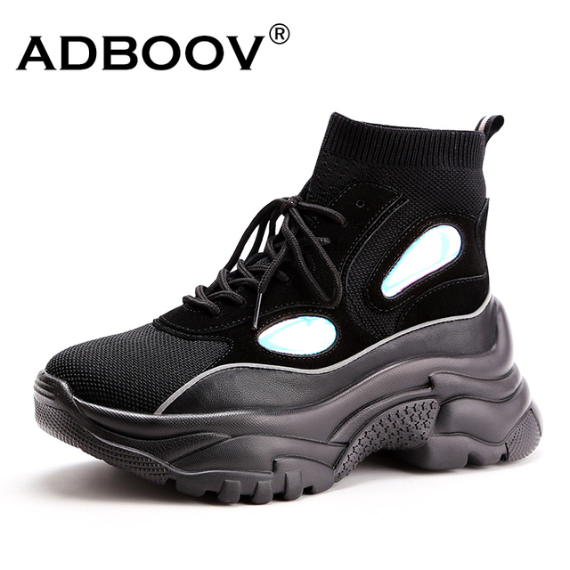 ADBOOV New High Top Platform Sneakers Women Glitter Ankle Boots Sock Shoes Woman Unisex Dad Chunky Sneakers Zapatos De MuJjer 1