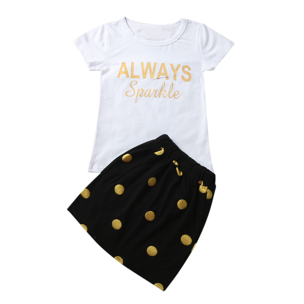Girl Dress T-Shirt Outfits Baby Kids Fashion Letter White Cotton Tops Skirt O-Neck Dot