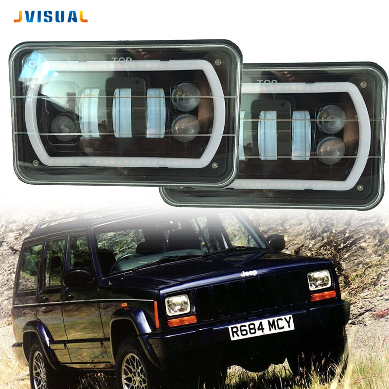 цены Pair 5 Inch 4x6 Car Auto DRL Led headlamp 4x6