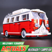 2016 New LEPIN 21001 1354Pcs Creator Volkswagen T1 Camper Van Model Building Kits Minifigure Bricks Toys Compatible Legeod
