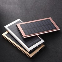 Universal Ultra Thin Solar Panel 20000mAh Power Bank Portable External Battery Dual USB Charger Power Supply
