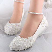 low wedges heels womens summer spring wedding shoes ivory lace flower ankle bracelet sexy bridal brides