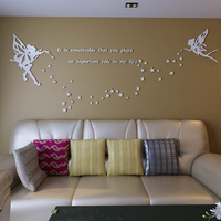 6 Color Acrylic Crystal 3D Stereo Bedroom Wall stickers Butterfly Stars Living room sofa TV wall Decorative Picture Wedding Gift