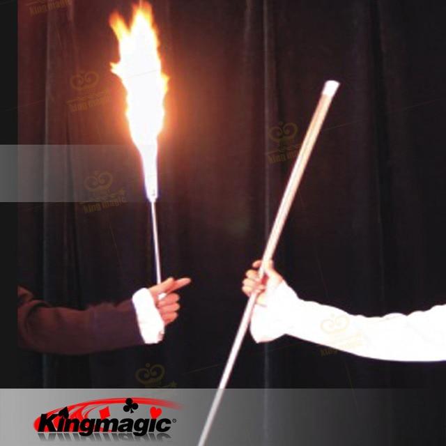 Flaming Torch to Cane Magic Trick, Silver color, Fire Magic Accessories, Magic Gimmick, Stage Magic Illusions