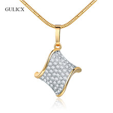 GULICX Unique Design Bending Rectangle Pendant Necklace For Women Gold Color Water Wave CZ Zirconia Pendant