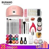 Burano Nail tools set kit UV \LED GEL Lamp & 12 Color UV Gel Practice Fingers Cutter Nail Art Tool Kit Set manicure set 001