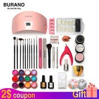 Burano Nail tools set kit UV \LED GEL Lamp & 12 Color UV Gel Practice Fingers Cutter Nail Art Tool Kit Set manicure set 001