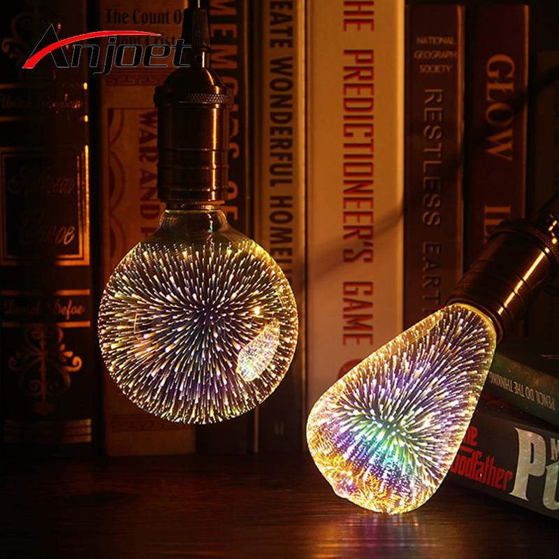 Anjoet Led Light Bulb 3D Decoration Bulb 110V 220V ST64 G95 G80 G125 A60 E27 Holiday Lights Novelty Christmas Lamp Lamparas