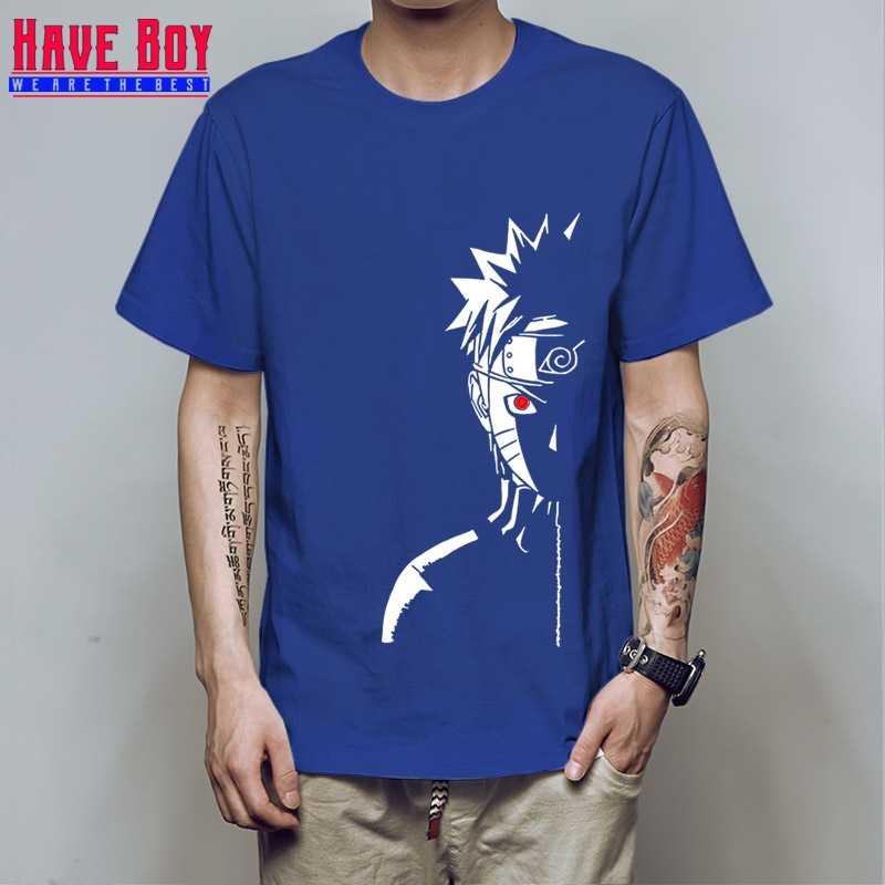 У мальчика мужчин модная футболка брендовые летние футболки Наруто красное солнце аниме в полоску мужская футболка 100% хлопок топ тройники HB196