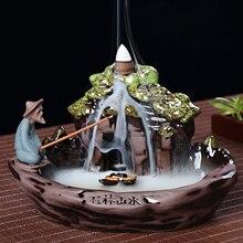 Backflow Incense Burner Home Decor Ceramic Smoke Stick Holder Censer + 10Pcs Cones