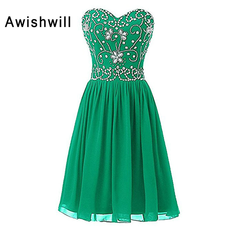 Robe De   Cocktail     Dresses   2019 Green Black Sweetheart Beadings Chiffon Short Prom Gown Homecoming Party   Dresses   Custom Plus Size