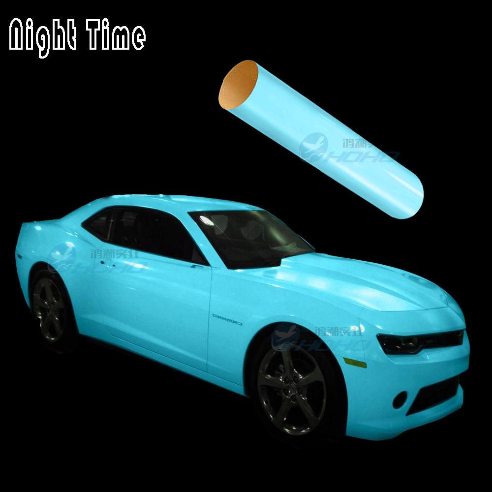 Bleu Luminescent Lueur Dans Le Foncé Enveloppe de Voiture de Vinyle Air Sortie Film1.52x3M
