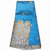 High Quality popular design golden thread with sequins african george lace fabric Indian george lace embroidery for women dress
