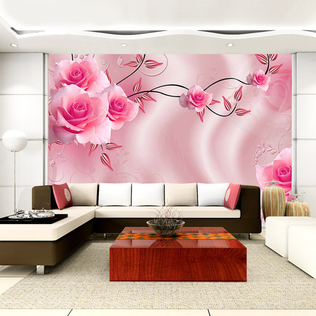 Online Shop Custom Size 3D Silk Cloth Flowers Photo Wallpapers ...