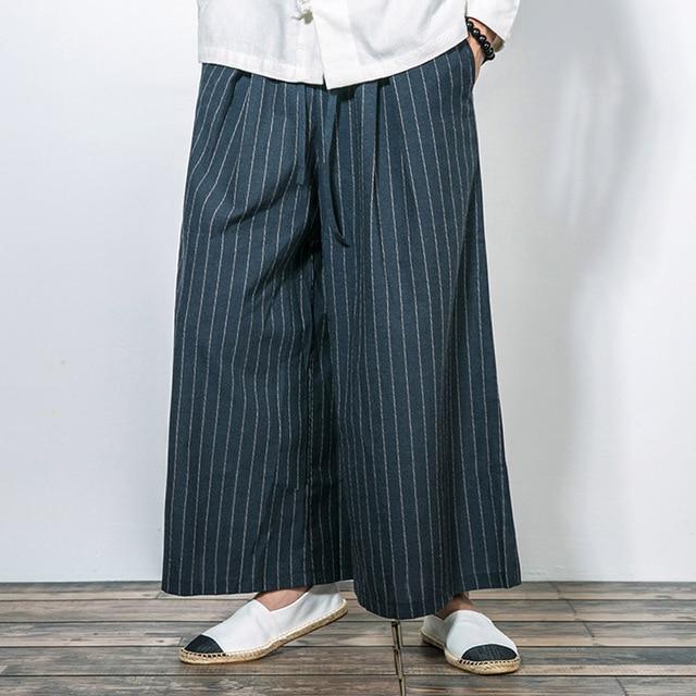 New Men Wide Leg Pant Cotton Linen Comfortable Loose