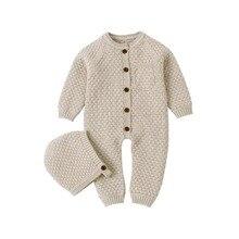 תינוק Rompers ארוך שרוול תינוקות בני בנות סרבלי בגדי סתיו מוצק סרוג יילוד פעוטות ילדים סרבל חתיכה אחת 0 18M