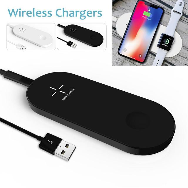 New 2 in 1 Wireless Charger Pad for Apple Watch Air Fast Charging Cable For iPhone X 10 8 8 Plus for iWatch 3 2 for Samsung S8
