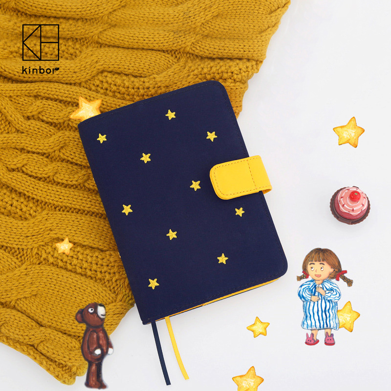 Kinbor Cute Japanese Hobonichi Style Cloth and Embroidery Traveler s Notebook 2017 Planner DIY Diary Dokibook