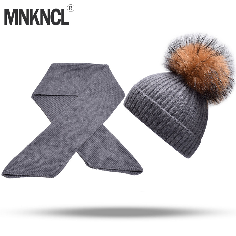 66550433dc1 MNKNCL Women Winter Hat And Scarf Set Fashion Cashmere Knitted Hat Fur  Pompom Hat Female Warm