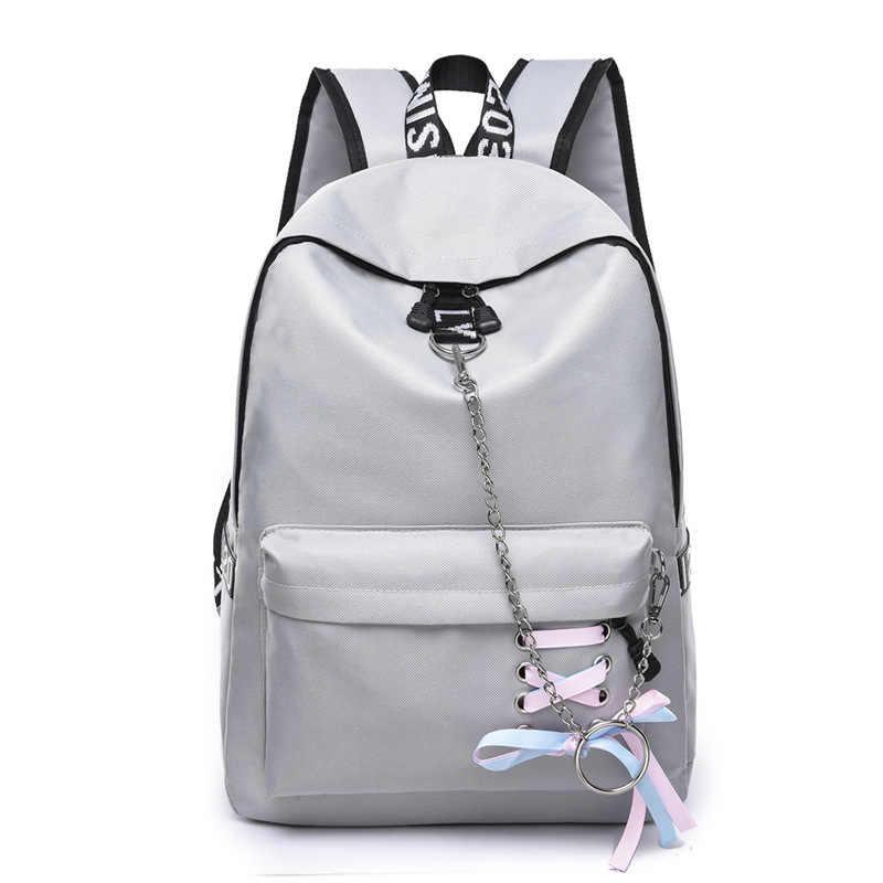e8625bbd77 Fashion Waterproof Nylon Women Backpack Korean Style School Bags for Teenage  Girls Bow Chains Design Bagpack