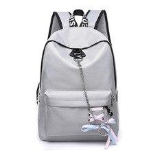 c64b4bed Модные Водонепроницаемый нейлон Для женщин рюкзак корейский стиль школьные  сумки для девочек-подростков лук цепи