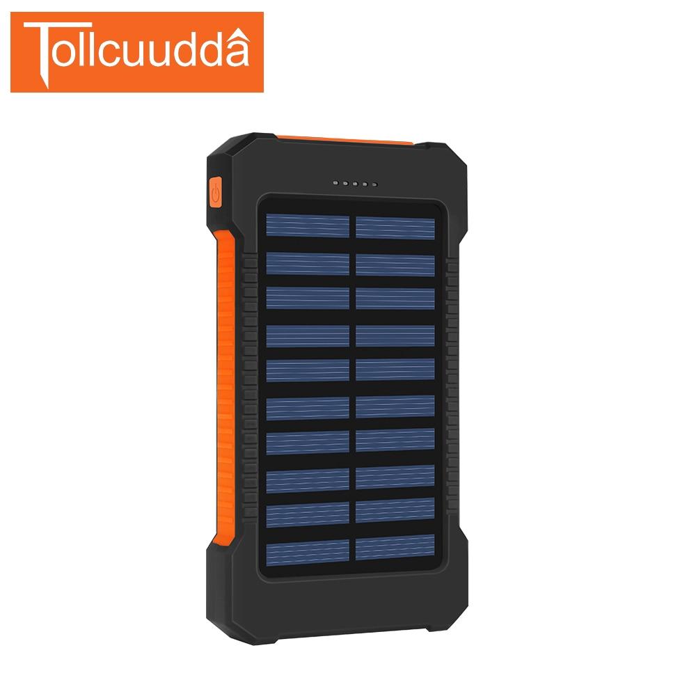 imágenes para Tollcuudda Impermeable Banco de la Energía 10000 mAh Mejor Qualit Powerbank Cargador Portátil Solar Cargador de Batería Externa Para Todos Los Teléfonos