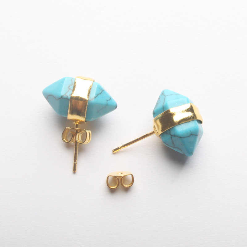 Charm 18X10 มม.อเมทิสต์เคลียร์ควอตซ์ Lapis lazuli Rose สีชมพูควอตซ์โอปอล Turquoises Faceted Bicone ต่างหู 1 คู่