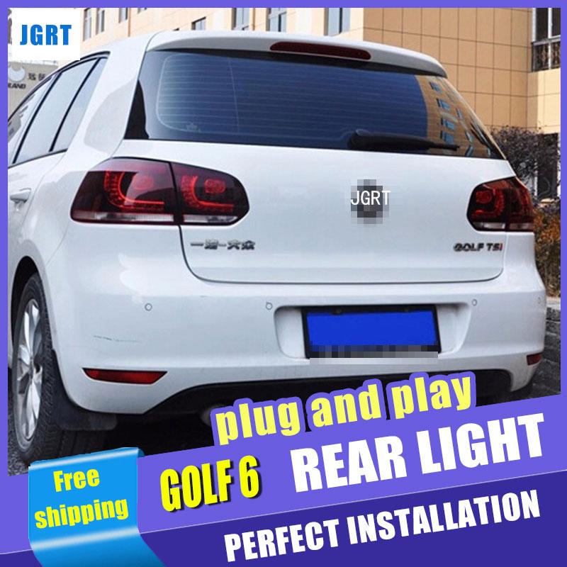 Автомобиль для укладки для VW Гольф 6 задний фонарь сборку 2009-2012 для Фольксваген Golf6 из светодиодов задний фонарь R20 сзади крышка лампы ДРЛ+сигнал+Тормозная 2шт.