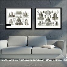 Barocco Shop HD Printed Modern Oil Painting Europe Classical Architecture Print Art Decorative Pictures For Living Room