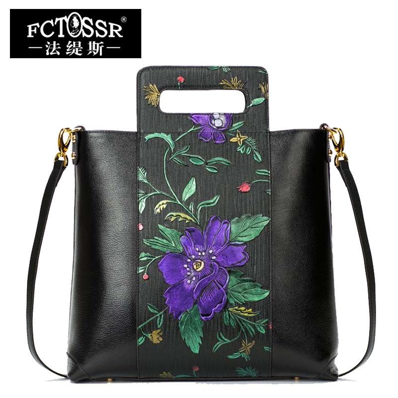 2018 Women Shoulder Bags Handmade Genuine Leather Handbags Flowers Hand Painted Ladies Messenger Bags Chinese Style