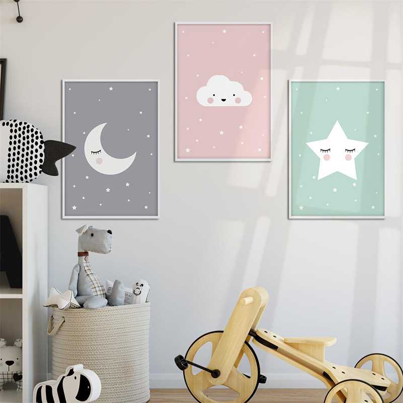 Gzcjhp Cartoon Moon Star Nursery Quote Wall Art Canvas Poster Prints Kawaii Nordic Painting Picture Baby Bedrooom Decoration
