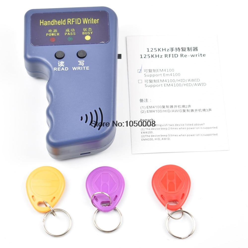 Handheld 125KHz EM4100 RFID Copier Writer Duplicator Programmer Reader +3pcs EM4305 Rewritable ID Keyfobs Tags Card T5577 5200 portable handheld 125khz rfid id card writer copier duplicator em4100 rfid copier writer duplicator programmer reader