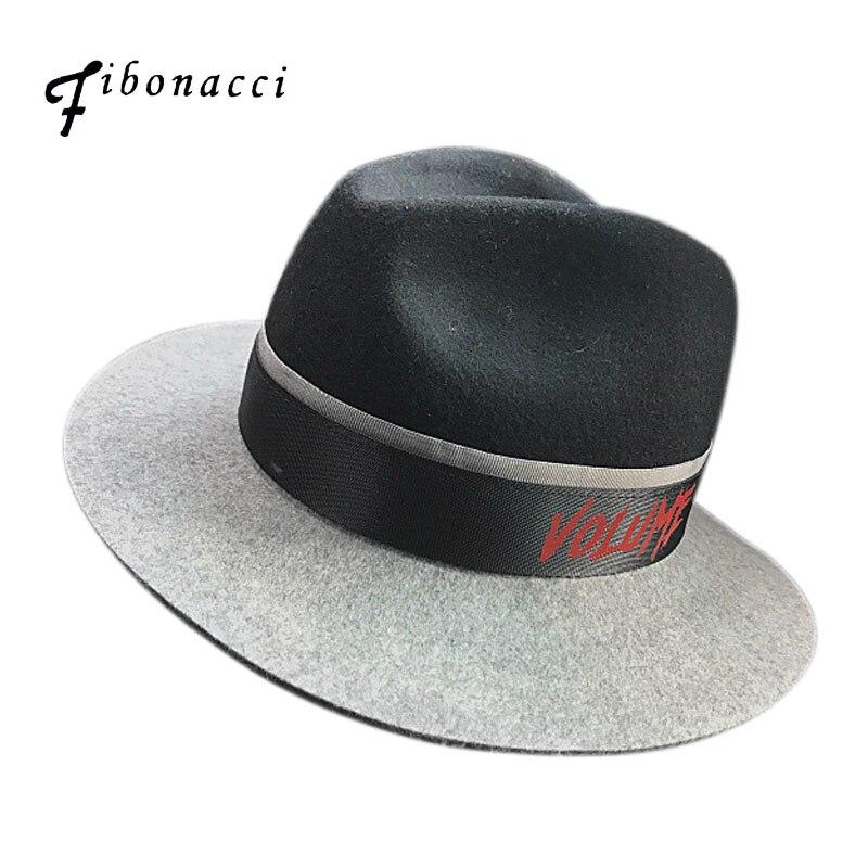 Fibonacci <font><b>Fedoras</b></font> Men Black Gray Patchwork Wool Jazz Felt Cap Autumn Winter Trilby Bowler Wide Brim Hat <font><b>for</b></font> Women Men Jewish Hat