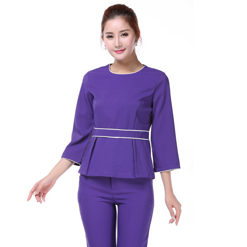 Elegant purple beautician medical uniform nurse spa for Spa uniform colors
