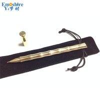 Emoshire Üst Marka El yapımı Taktik Kalem Bambu Tasarım Kadın Defansif Roller Küresel Pen Golden Bakır Tükenmez Kalemler P337