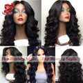Handmade Full Head Long Wave Hair Wig With Baby Hair High Quality Synthetic Lace Front Wig For Black Women Free Shipping
