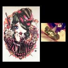 1 PC England Girl Vampire Waterproof Flower Arm Sleeve Tattoo HB008 Women Beauty Health Body Art Temporary Paper Tattoo Sticker