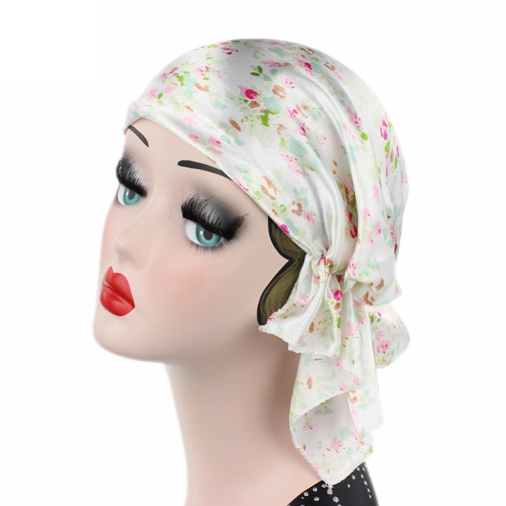 Women Satin Stretch Turban Hat Chemo Hair Loss Bonnet Cap Head Wrap Cover metting joura vintage bohemian green mixed color flower satin cross ethnic fabric elastic turban headband hair accessories