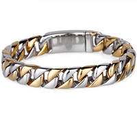 (3 ITEM LINK) Men Bracelet 22CM Width 1.3CM 316LGift Jewelry Gold Silver Bangle,Fahion, modern, wholesale