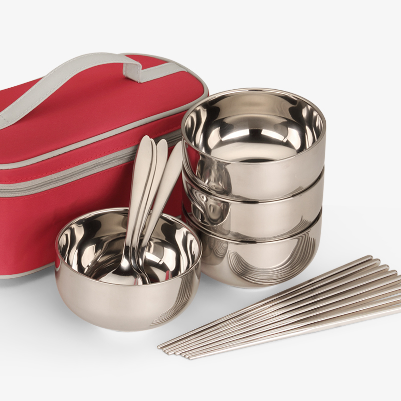 Portable Food Container stainless Steel Bowl Set 4 Bowls 4 Pairs Of Chopsticks 4 Spoons,Tigela opa,Rice Soup Bowl,bol inox,