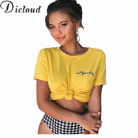 KAYWIDE 2018 Letter Embroidery T Shirt Women Tops Summer Short Sleeve Cotton O Neck Tees Short