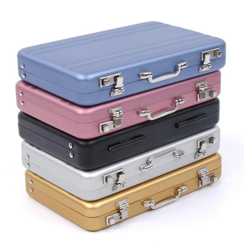 Jewelry-Case-Organizer Suitcase Storage-Box Credit-Card-Holder Business-Id Aluminum Mini
