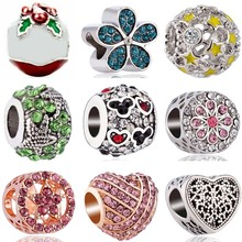Btuamb Simple Style Crystal Enamel Star Flower Snowflake Bow Charms Beads Fit Pandora Bracelets Necklaces for Women DIY Jewelry(China)